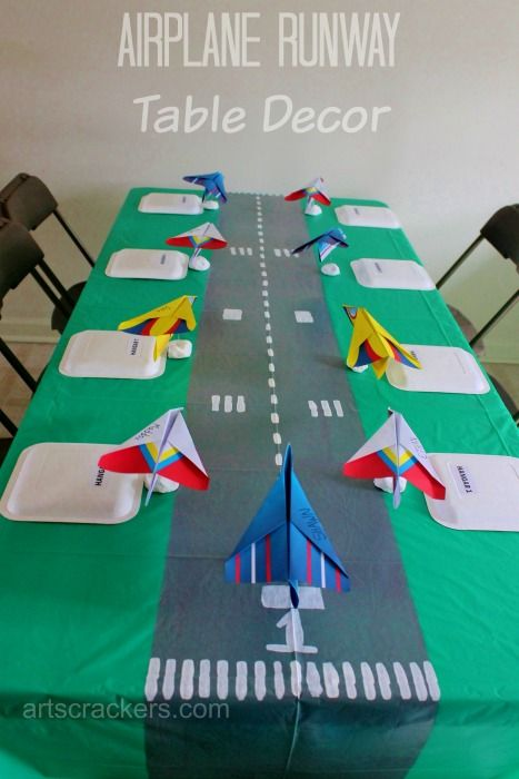 """""""First in Flight"""" First Birthday Party Theme: Table Runner Runway Decor"""