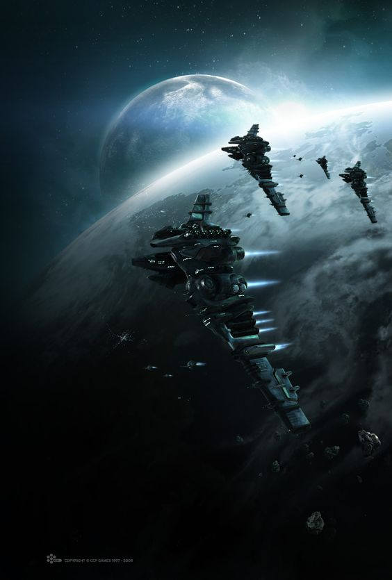 Eve Online Myrmidon-class battlecruisers. I wish they would fit her to be a better BC