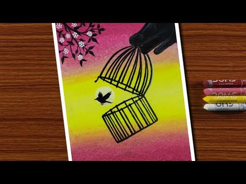 Easy Oil Pastels Drawing For Beginners Bird Out From Cage