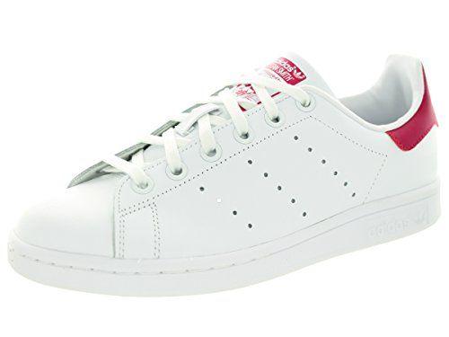 Adidas Kids Stan Smith J Originals Ftwwht/Ftwwht/Bopink Casual Shoe 6.5 Kids US