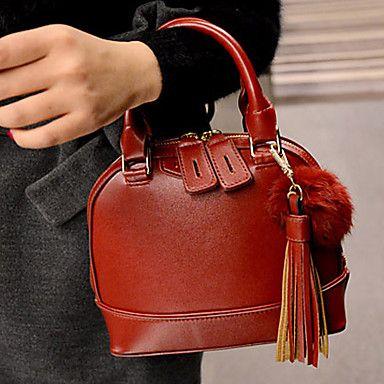 o novo shell bolsa de pele de coelho bola franjas das mulheres Tiffa – BRL R$ 57,11