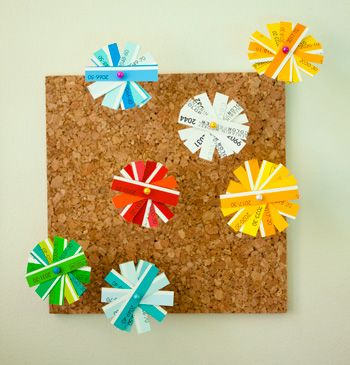 Make daisies or snowflakes out of paint sample chips.