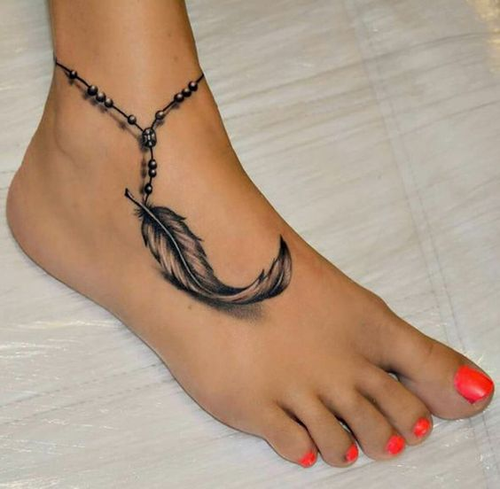 Anklet Ankle Wrap Around Chain Feather Tattoo Ideas for Women at MyBodiArt.com: