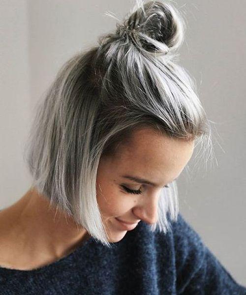 20 Short Hair Colors Trends For Summer 2019 Linasbest Blog Haare Grau Farben Frisuren Graue Haare Haarschnitt Kurz