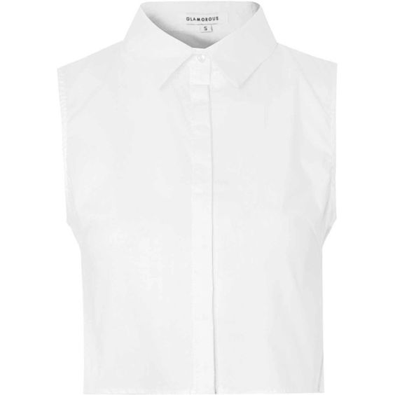 Glamorous White Cropped Button Down Blouse (€28) ❤ liked on ...