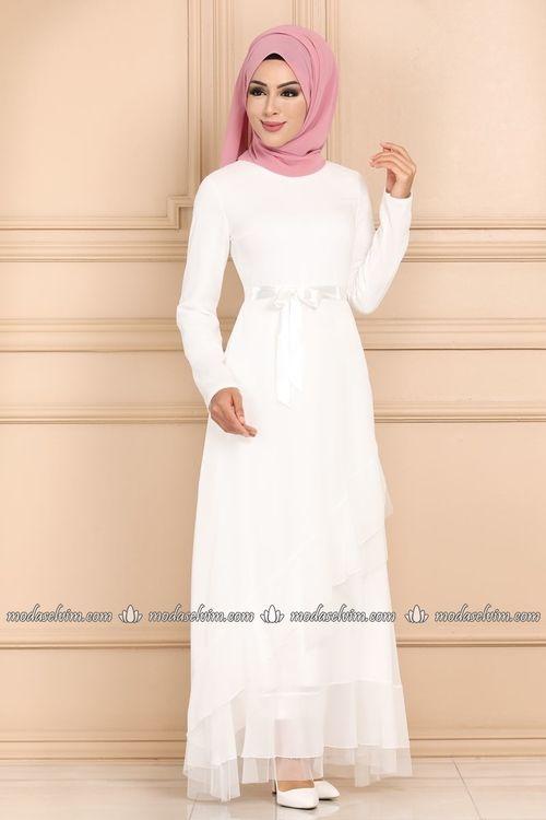 Modaselvim Elbise Firfirli Sifon Tesettur Elbise 5116ay342 Ekru Dresses Fashion Ecru