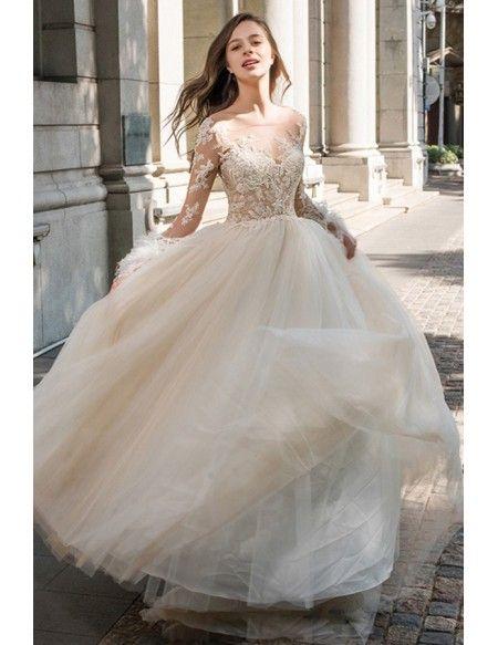 0f949a043de Sexy Sheer Top Beaded Long Sleeve Wedding Dress Open Back Tulle Ballgown