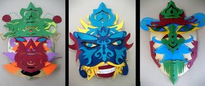Paper cut and relief mask making - students look at diverse cultural and theatre masks