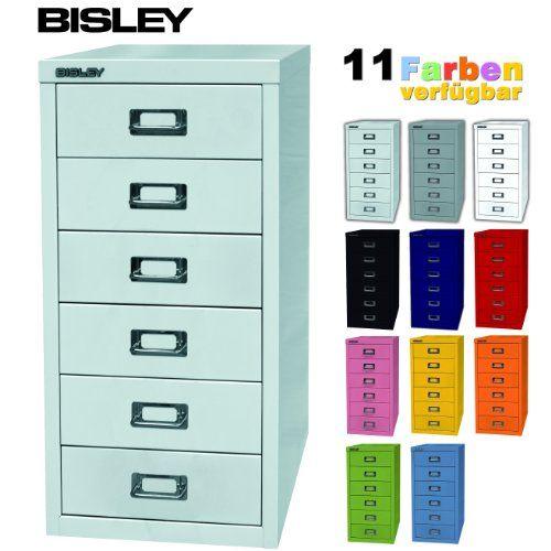 BISLEY Schubladenschrank aus Metall mit 6 Schüben   Schrank für Büro, Werkstatt und Zuhause   Stahlschrank in 11 Farben (Lichtgrau) Bisley  H 590 x B 279 x T 380 (mm) 99e
