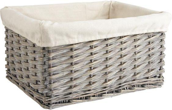 Corbeille de rangement en Osier gris et Coton 36x26x18cm sur Jardindeco. Rangez facilement tout votre intérieur à l'aide de cette corbeille de rangement d'une longueur de 36cm. Pratique, cette Corbeille en osier et coton accueillera vos vêtements, accessoires... Astuce : Utilisez cette Corbeille avec doublure tissus comme rangement de salle de bain ou comme tiroir de rangement sur des étagères !