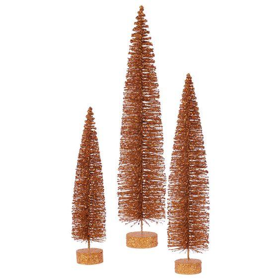 3 Piece Glitter Oval Christmas Tree Set