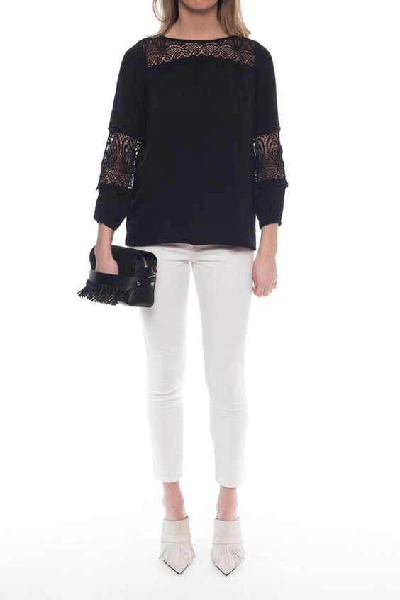 The Coastal top from Joie is a vintage inspired long-sleeve top that features a relaxed and flowy fit. We adore the lace insets around the neck and sleeves and scalloped trim on this boho chic top.   Coastal Silk Blouse by Joie. Clothing - Tops - Blouses & Shirts Clothing - Tops - Long Sleeve New Jersey