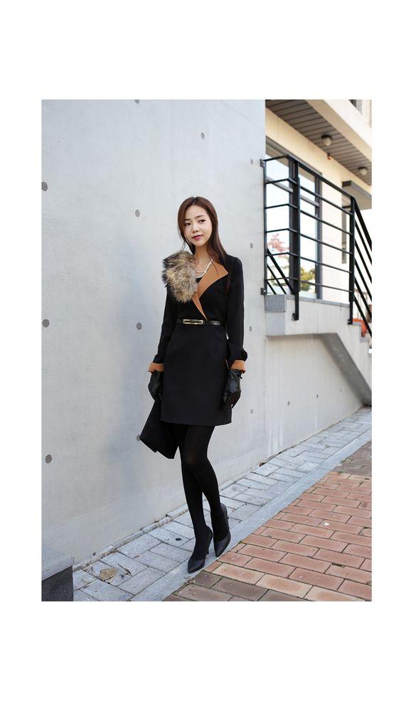 Contrast-Collar Dress - Asha BaBa | YESSTYLE