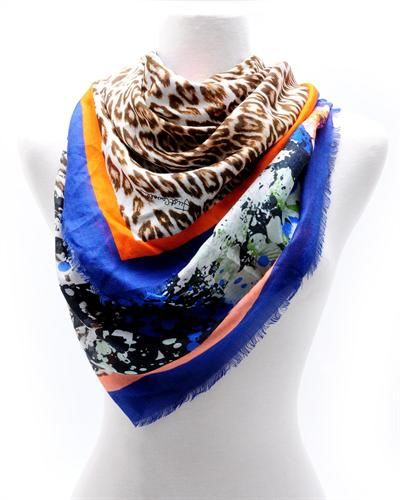 Just Cavalli Multicolor Floral Print Scarf - Made in Italy  ScarfWomen #Accessories