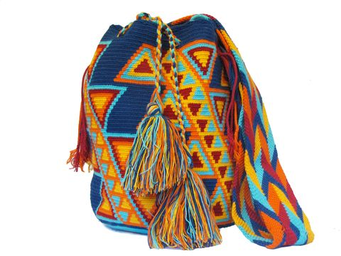 Blue/ Red/ Orange Triangular Patterns Wayuu Bag Whatsapp +57 320 345 9226
