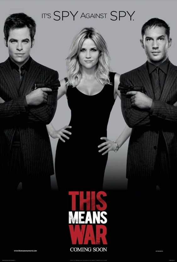 This Means War (2012) - its SPY against SPY.  Two top CIA operatives wage an epic battle against one another after they discover they are dating the same woman.