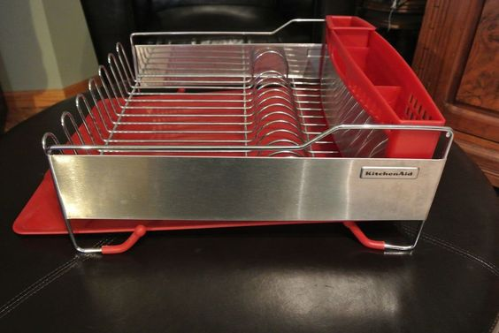 Kitchenaid 3 Piece Dish Drying Draining Rack Red Stainless Steel