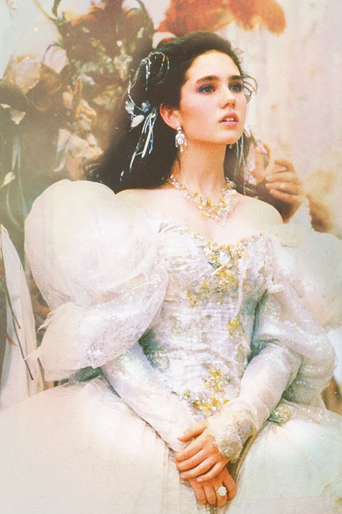 Sarah Williams inside her dream, dressed up for Jareth's ... Labyrinth Movie Sarah Dress