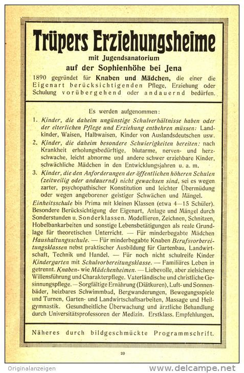 Original-Werbung/ Anzeige 1921 - TRÜPERS ERZIEHUNGSHEIME /  SOPHIENHÖHE BEI  JENA   - ca. 120 x 190 mm