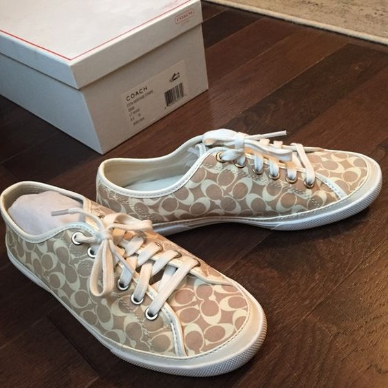 ⚡️Final Price Drop⚡️COACH - Etta Heritage sneakers Comfortable COACH Etta Heritage sneaker in Khaki. Size 8.5... Worn twice and are in excellent condition.  Comes in original box! Coach Shoes Sneakers