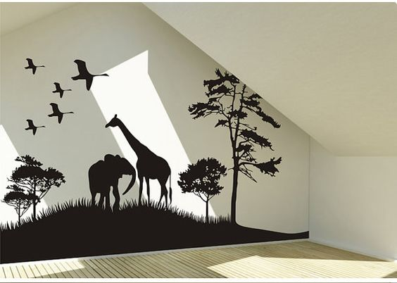 Safari Animals Wall Decal Africa giraffe and elephant Vinyl Wall Art Decal African Savanna Wall Decal birds wall decal on Etsy, $48.99