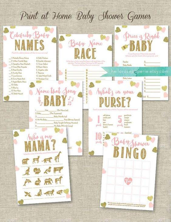 Perfect Pink And Gold Baby Shower Games Printable Bundle This Bundle Of Seven Popular  Baby Shower Games