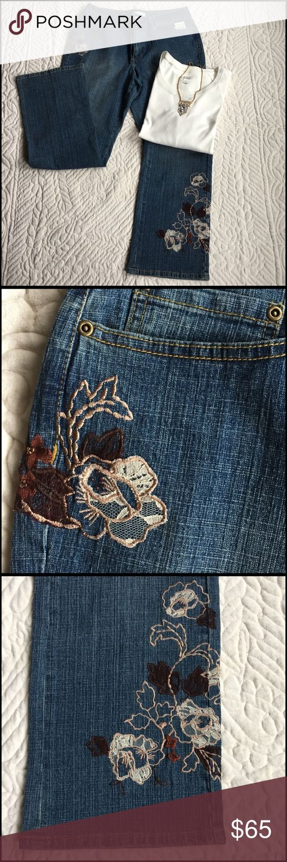 """Coldwater Creek Jeans And Top Set Set includes Embroidered/lace jeans and top. The jeans has Embroidery/lace design at the bottom on one leg and a top by one pocket. Two back Jean pockets, boot cut opening and a high waist / inseam is 31"""" waist button is 36"""" 90% Cotton 9% Poly 1% Spandex. Machine wash/dry. The top is a lightweight style sweatshirt. 3/4 length in sleeves. Size XL 60% Cotton 40% Poly length is 26"""" across the front only is 23"""" good stretch. bundle and Save 20% Coldwater Creek…"""