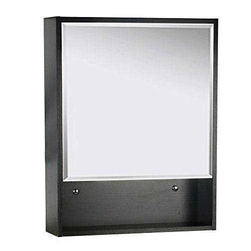 U Eway 22 X28 Bathroom Medicine Cabinet Organizer With Mirror 3 Height Adjustable Shelf Wall Mounted Surface Black Bathroom Storage Featu Black Bathroom Storage