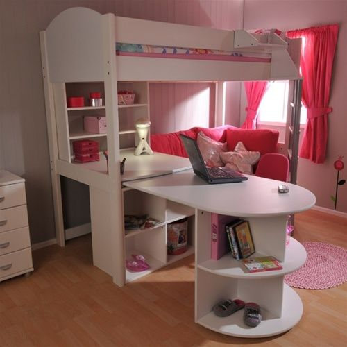 Girls loft bed with desk stompa casa 4 high sleeper bunk for Futon kids room