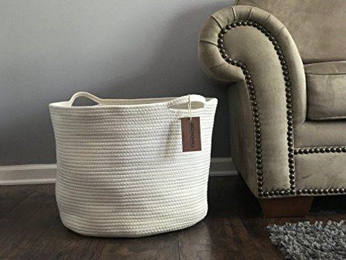 Amazon Com Irgonomico Cotton Rope Storage Baskets Xxxl Extra Large Rope Basket 23 X13 X17 Laundry Hamper Large Laundry Basket Blanket Basket Laundry Hamper