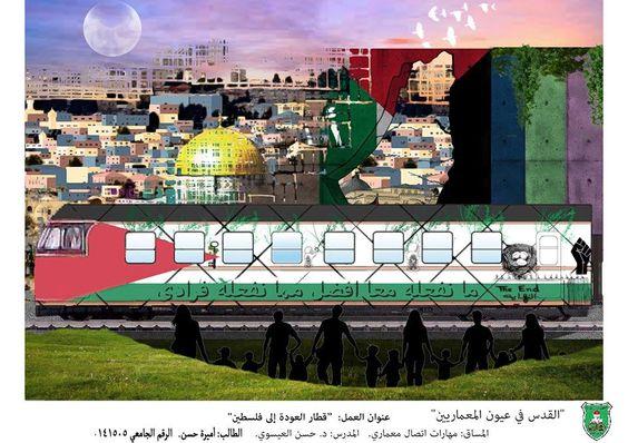 أميرة حسن  لوحة8: قطار العودة الى فلسطين- il treno di ritorno in Palestina