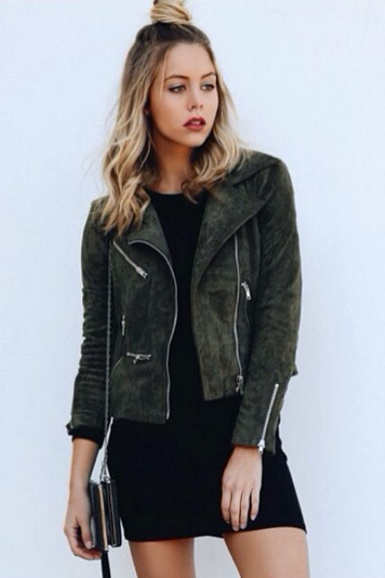 Suede with Love Olive Green Suede Moto Jacket | Style, Cowl neck ...