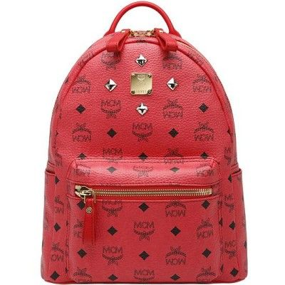 MCM Small Stark Four Studded Backpack In Red