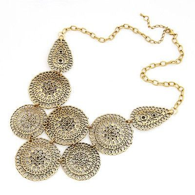 vintage personality fashion hollow out flower pendant charm necklace