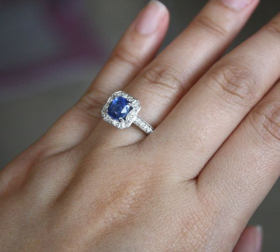 Cushion Blue Sapphire Diamond Pave' Ring in 14K by Studio1040