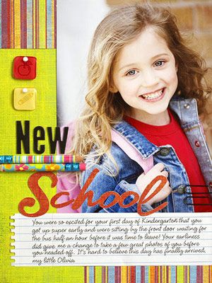 Pair a bright school photo with vibrant patterned paper and embellishments for an all-around exciting scrapbook page.