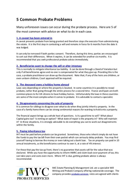 5 common probate problems by iwc probate services via slideshare 5 common probate problems by iwc probate services via slideshare real estate pinterest real estate solutioingenieria Gallery