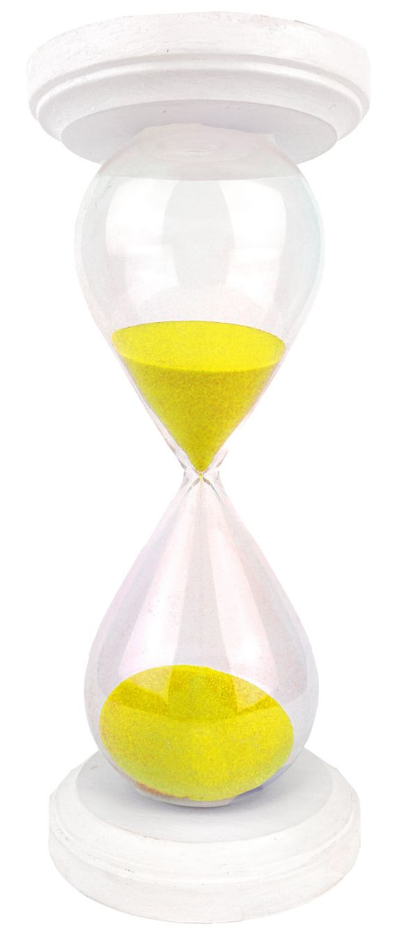 White Capped Hourglass with Yellow Sand