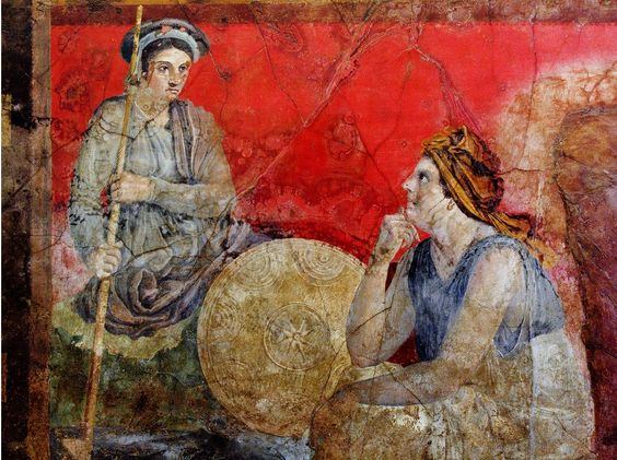 Fresco from Boscoreale, 60-30 BC, depicting a figure in kausia with a Macedonian sarissa and shield