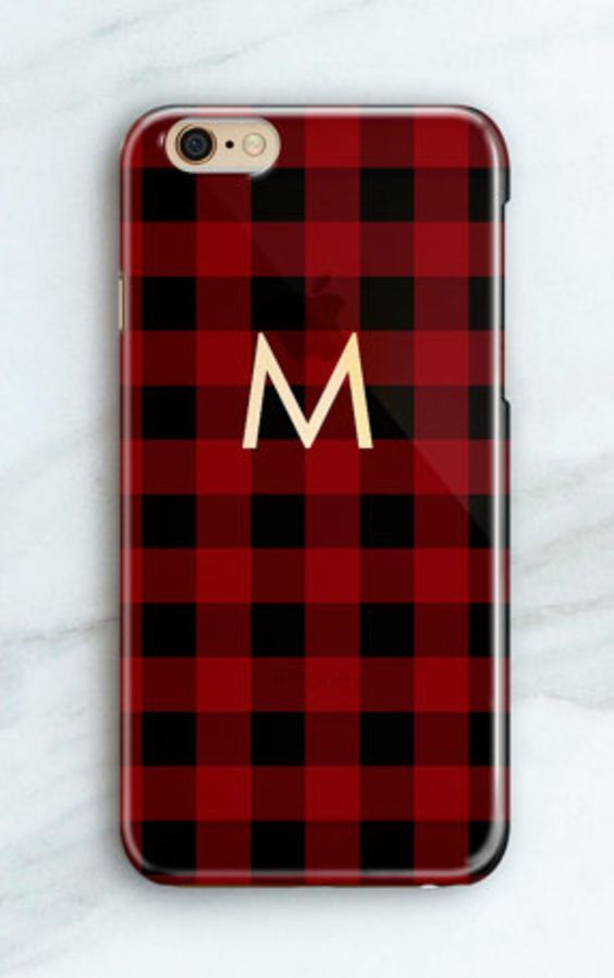 Monogrammed plaid iPhone case