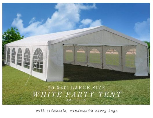Quictent 40 X 20 Heavy Duty Party Tent With 12 Window Sides And 2 Zipper Doors White Party Tent Party Tents For Sale Tent