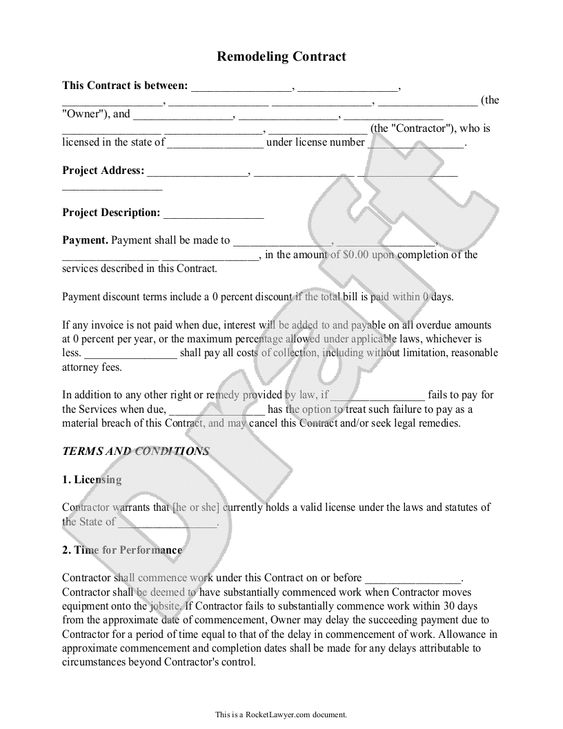 Write a Contract for a Home Renovation - remodeling contract template