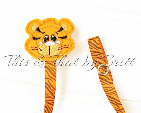 Tiger Feltie- Tiger Stripe Ribbon- Baby Pacifier Clip- Teething Ring Clip