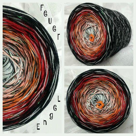 Feuer Engel: nur 4 fädig, da je 1 Faden weiss und 1 Faden schwarz durchgehend gewickelt sind... Hochbauschacryl 6 Farben: weiss mandarin orange karminrot weinrot schwarz