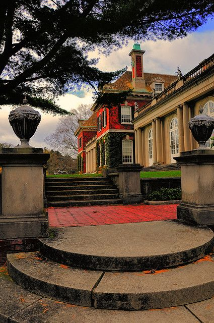 """Beautifully edited longitudinal shot of the main facade of the Old Westbury Estate known as """"Old Westbury Gardens"""" on Long Island, designed by the English architect George A. Crawley."""