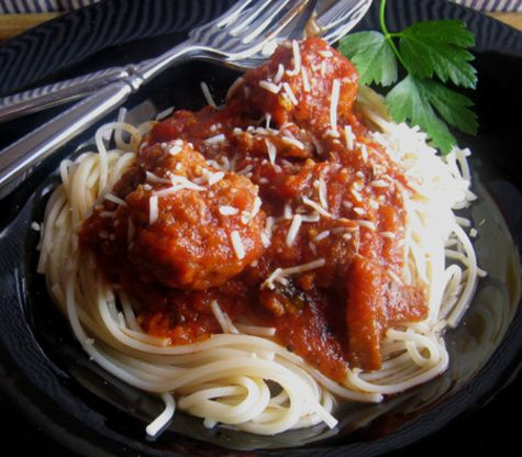 This is a very tasty dish that Ive had lots of compliments on, even tho I cheat and use jarred sauce (shhh)...I think the slow simmering of the flavorful meatballs really makes this taste homemade all the way!!! This makes a lot, so I usually use the leftovers to make meatball subs.