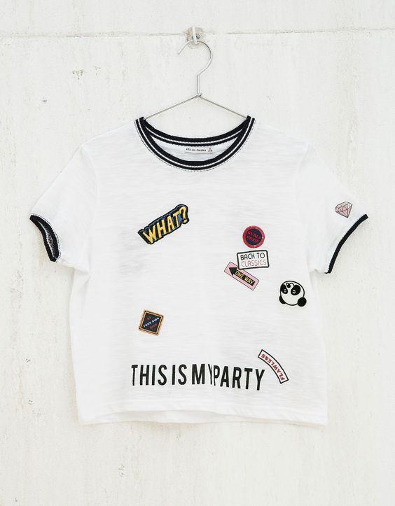 Camiseta parches rib contrastes - Camisetas - Bershka Colombia