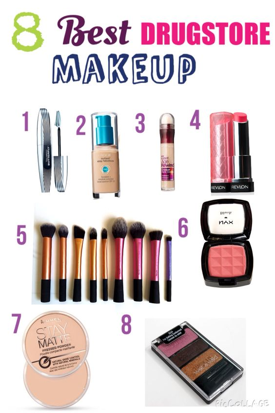 8 best drugstore makeup products 1. Maybelline butterfly mascara 2. Covergirl stay fabulous foundation 3. Maybelline age rewind concealer 4. Revlon lip butter 5.Real techniques brushes 6. NYX blushes 7. Rimmel stay matte powder 8. Wet and Wild eyeshadow trios