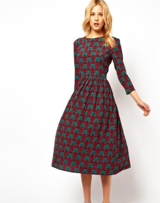 2020 Uzun Basma Elbiseler Gunluk Tarcin Dizalti Yarim Kol Kayik Yaka Desenli Elbiseler Elbise Elbise Modelleri