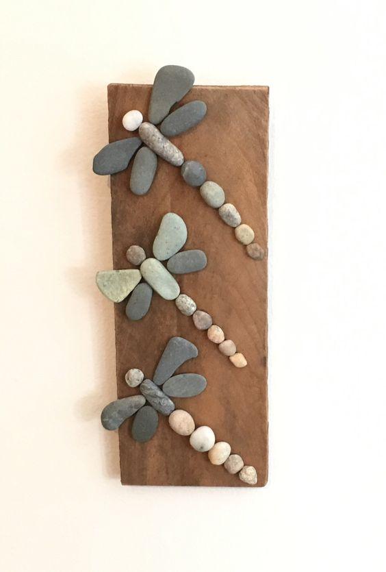 "Three Rock Dragonflies on Driftwood- 10"""